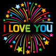 I love you firework — Stock Vector
