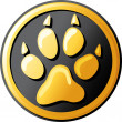 Stock Vector: Paw print button (icon)
