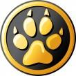 Paw print button (icon) — Stock Vector