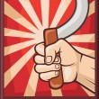 Soviet poster (ussr, hand holding sickle) — Stock Vector