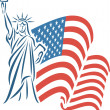 Statue of Liberty and USA flag — Stock Vector