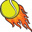 Tennis ball in fire — Stockvectorbeeld