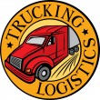Trucking - logistics symbol (emblem, design, badge, delivery truck) — Stock Vector