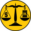 Scales of justice balancing oil with the dollar — Stock Vector