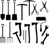 Collection of garden instruments silhouettes — Stock Vector