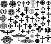 Velké kolekce vektorové izolované křížů — Stock vektor