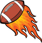 Rugby (american football) ball in fire — Stock Vector
