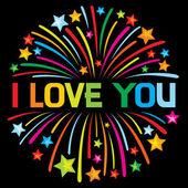 I love you firework — Stock Vector