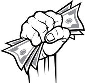 Money in the hand (Hand with money, Hand holding Banknotes) — Stock Vector