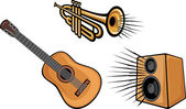 Trumpet, acoustic guitar and speaker — Stock Vector