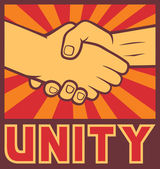 Unity poster (unity design, handshake) — Stock Vector