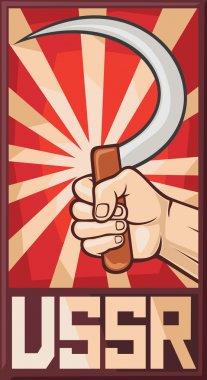 Soviet poster (ussr, hand holding sickle)