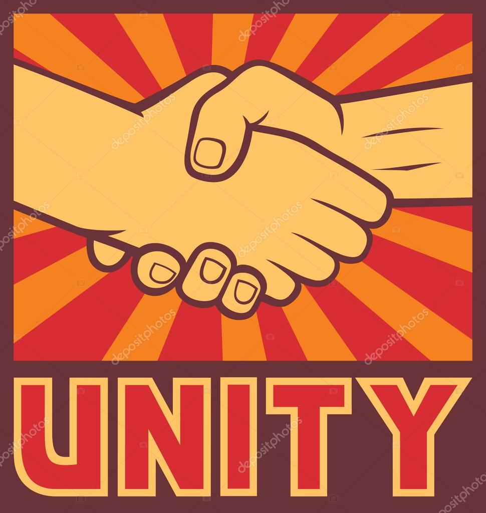 Unity Poster Unity Design Handshake Stock Vector