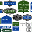 Big collection of road and street signs — Stock Vector