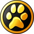 Paw print button (icon) — Stock Vector