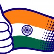 Flag of India. Hand showing thumbs up. — Stock Vector