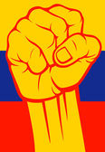 Colombia fist (Flag of Colombia) — Stock Vector