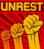 Fist - symbol of unrest — Stock Vector