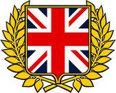 Shield with united kingdom flag (emblem, sign, design) — Stock Vector