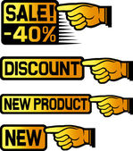 Price Tag Set (point finger) — Stock Vector