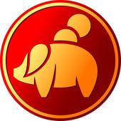 Piggy bank button (pig bank button, piggy bank Icon) — Stock Vector