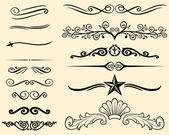 Vector set of decorative elements (decorative lines) — Stock Vector