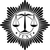 Scales of justice symbol (scales of justice seal, scales of justice order, scales of justice medal) — Stock Vector