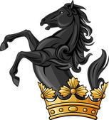 Black horse and crown (heraldic symbol, composition) — Stock Vector