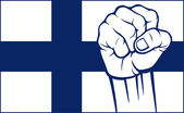 Finland fist (flag of finland) — Stock Vector