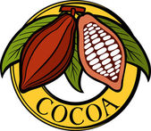 Cacao - cocoa beans label (symbol, badge, sticker) — Stock Vector