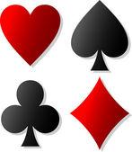 Symboles de carte décorative (ensemble d'icônes de carte costume) — Vecteur