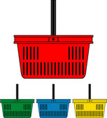 Set of colorful shopping basket. Shopping cart. — Stock Vector