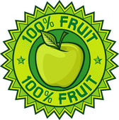 100 percent fruit label (apple sign, seal, symbol) — Stock Vector