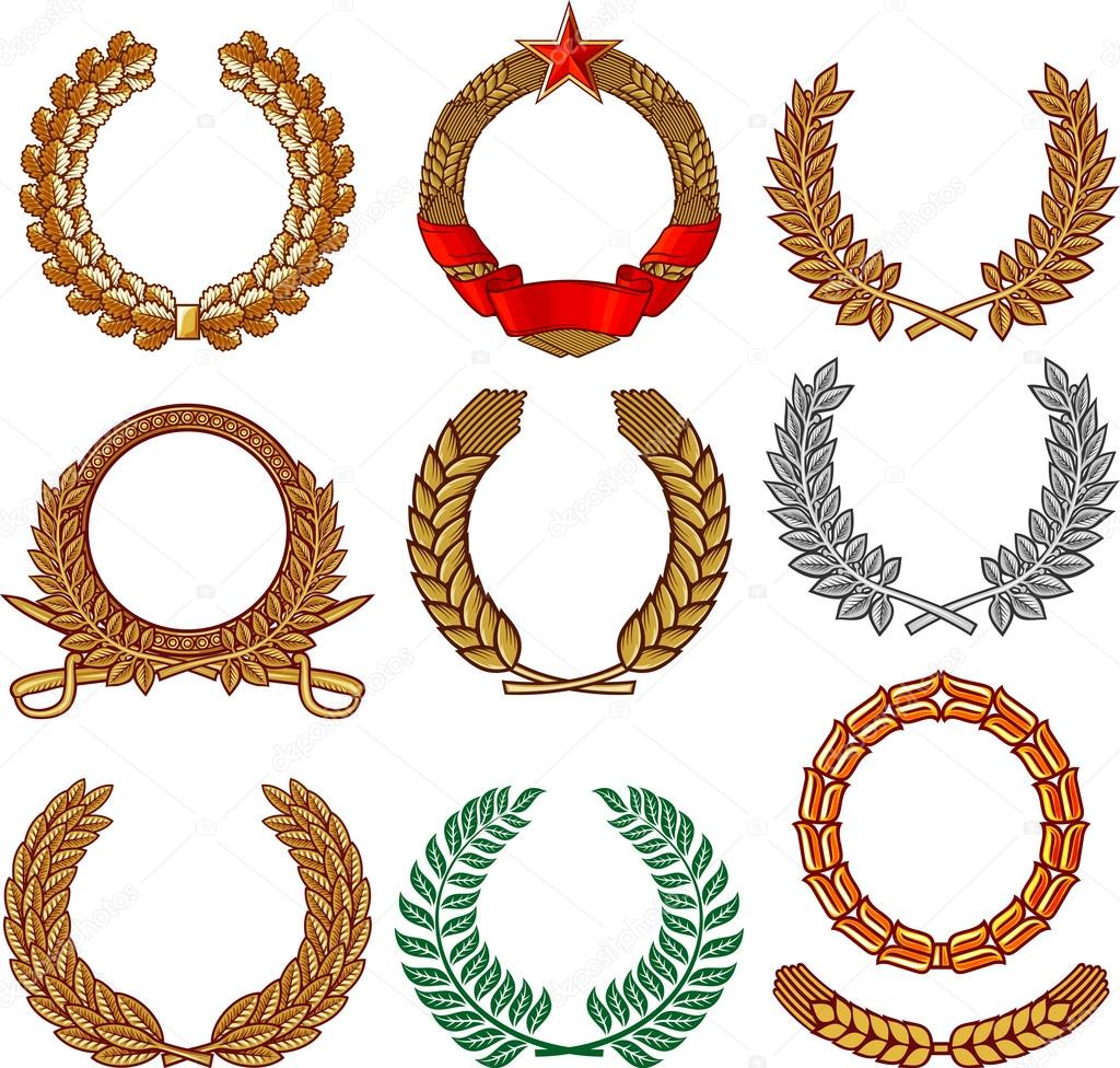 ... Wreath-set-wreath-collection-laurel-wreath-oak-wreath-wreath-of-wheat
