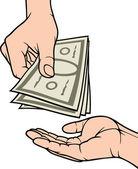 Hands giving and receiving money — Stock Vector