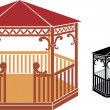 Wooden gazebo — Stock Vector