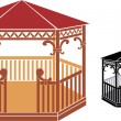 Stock Vector: Wooden gazebo