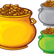 Stock Vector: Pot of gold coins
