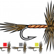 Fly fishing flies — Vector de stock #34326433