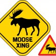 Moose crossing road sign  — Stock Vector