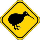 Kiwi road sign — Stock Vector