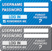 Log in form with username and password fields — Stock Vector