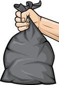Hand holding black plastic trash bag — Stock Vector