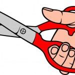 Hand holding scissors (scissors in hand) — Stock Vector