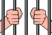 Hands holding prison bars (hand behind prison bars, hand in jail) — Stock Vector