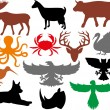 Set of animals silhouettes — Stock Vector