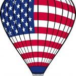 Hot air balloon with USA flag — Stock Vector