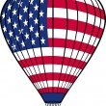 Hot air balloon with USA flag — Vecteur