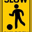 Stock Vector: Children slow traffic sign