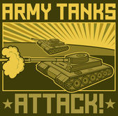 Military tanks poster — Stock Vector
